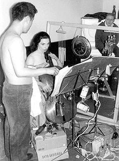 Cellist Charlotte Moorman, with Nam June Paik, 1965 (Photo: Hanns Sohm)