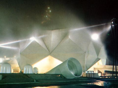 E.A.T. – Experiments in Art and Technology «Pepsi Pavilion for the Expo '70» | pavilion by night